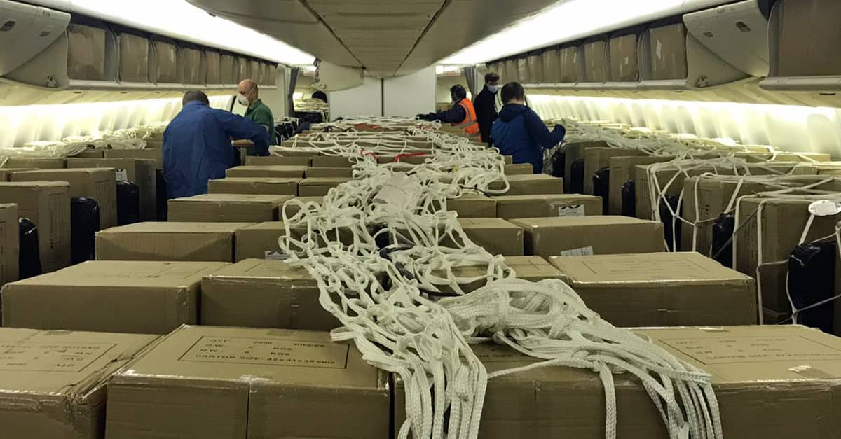 Picture of the material coming from China at Madrid-Barajas airport